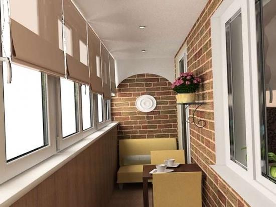 Pereti din balcon cu tapet decorativ imitatie de caramida si perete  lateral cu lambriu