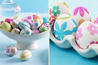 Stikere cu sclipici lipite pe oua