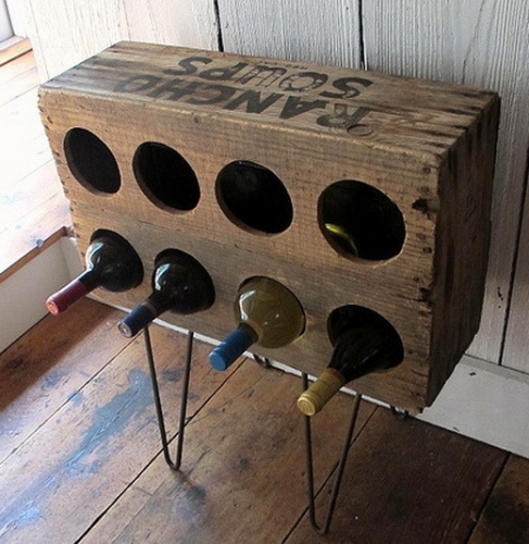 Suport sticle de vin in cutie de lemn