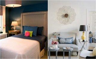 Canapea si tablie de pat cu tapiterie dungata