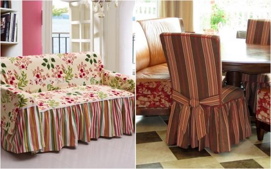 Huse pentru canapea si scaune model cu imprimeu