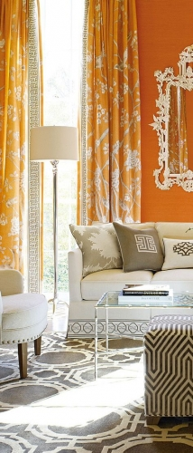 Draperii orange cu imprimeuri albe