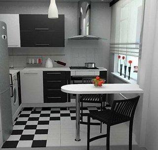 Bucatarie cu decor gri negru
