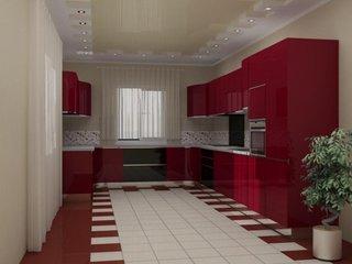 Bucatarie cu decor rosu