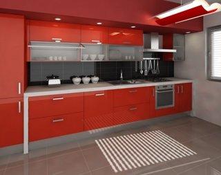 Bucatarie cu design rosu