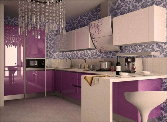 Bucatarie eleganta violet