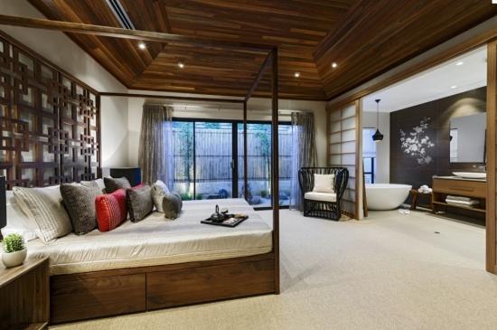 Dormitor frumos amenajat cu accente decorative japoneze