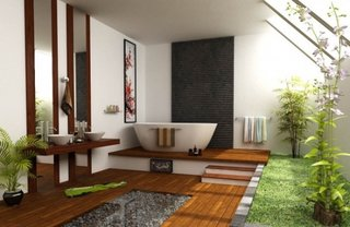 Inspiratie pentru amenajarea unei bai in stil japonez cu plante si mult lemn