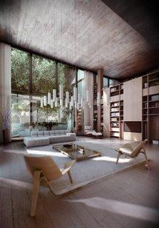 Interior modern de living cu accente decorative japoneze