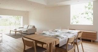 Living open space cu dinning decor in stil minimalist