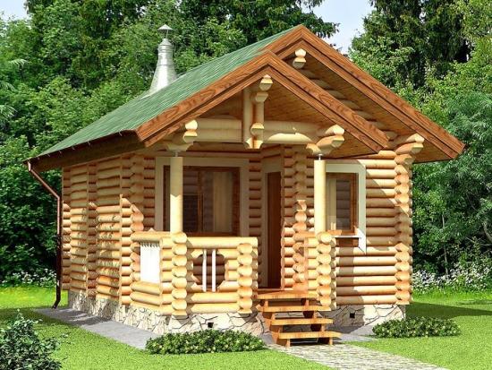 Casuta din lemn cu gradina in jur