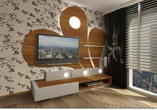 Placa decorativa pe televizor pe perete