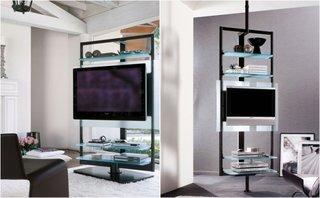Stand TV cu metal si rafturi din sticla