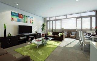 Unitate TV moderna de culoare neagra intr-un living gri