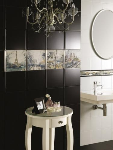 Baie cu faianta un perete negru si un perete alb