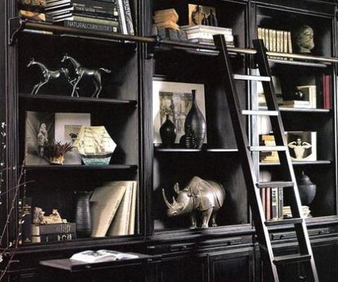 Biblioteca eleganta neagra cu multe rafturi