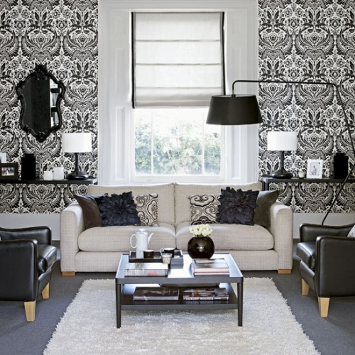 Living alb cu tapet alb cu negru for Front room feature wallpaper