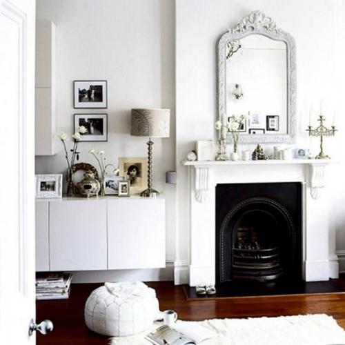 Living complet alb cu decoratiuni negre