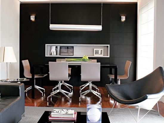 Living modern cu un perete negru