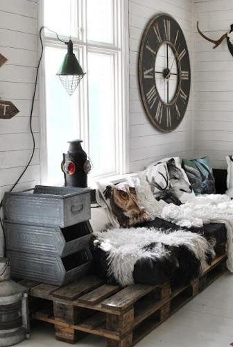 Canapea din paleti interior chic rustic industrial