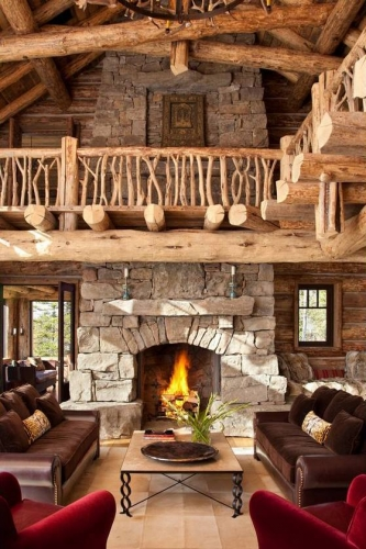 Balustrada scara interioara din crengi de lemn