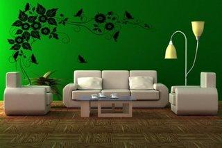 Camera de zi in culori verzi indraznete si mobilier alb