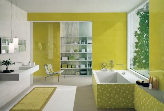 Galben si verde in amenajare baie