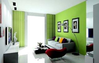 Idee mobilare si decorare living ingust cu perdele si perete de culoare verde