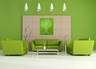 Living minimalist decorat in verde parz