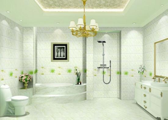 Placi ceramice cu model verde pentru faianta baie