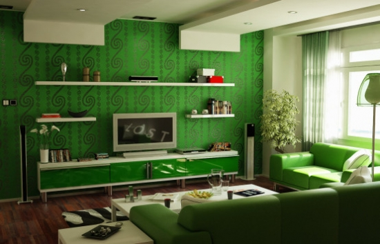 Sufragerie de apartament de bloc decorata si amenajata cu verde frunza