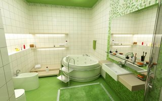 Tavan si pardoseala verzi in baie