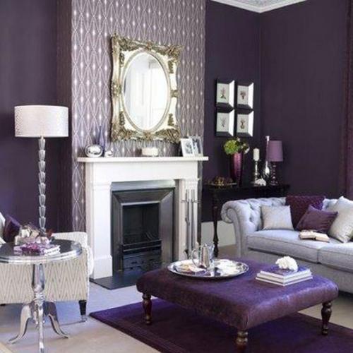 Gri si violet combinatie frumoasa pentru un living