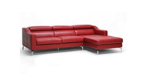 Canapea cu sezlong sectionala din piele rosie