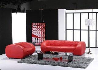 Canapea si fotoliu din piele culoarea rosu cireasa