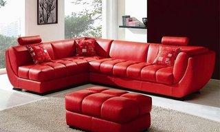 Coltar sectional din piele rosie pentru un decor modern