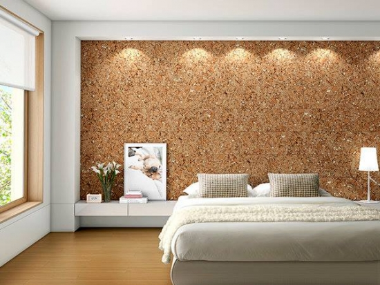 Pereti living placati cu pluta decorativa