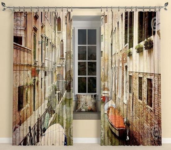 Draperii cu imprimeu peisaj urban