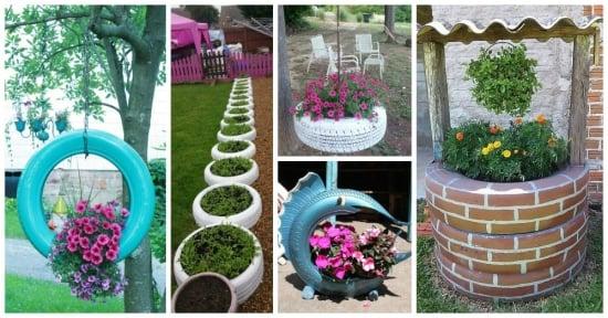Jardiniere si ghivece din cauciucuri vechi pentru gradina - Uite ce de idei ingenioase!