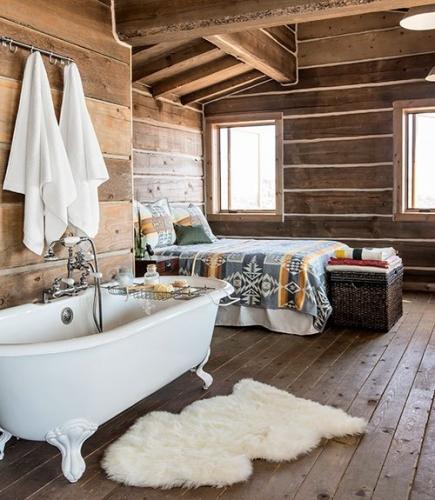 Cabana cu pereti interiori din lemn