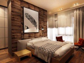 Dormitor amenajat cu lambriu de lemn