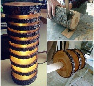 Lampa de podea handmade din bustean