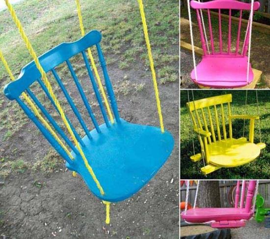 Leagane de gradina realizate din scaune cu spatar colorate