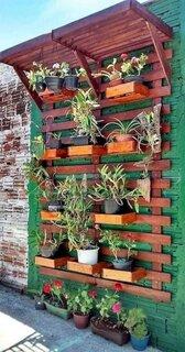 Gradina verticala din lemn pentru exterior