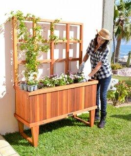 Idee de jardiniera mare din lemn