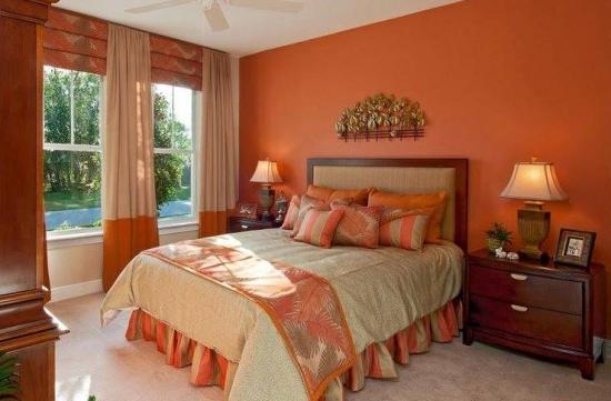 Lenjerie de pat portocalie cu crem
