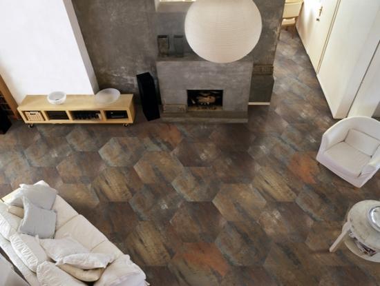 Gresie de lemn in forma de mozaic pentru placarea livingului