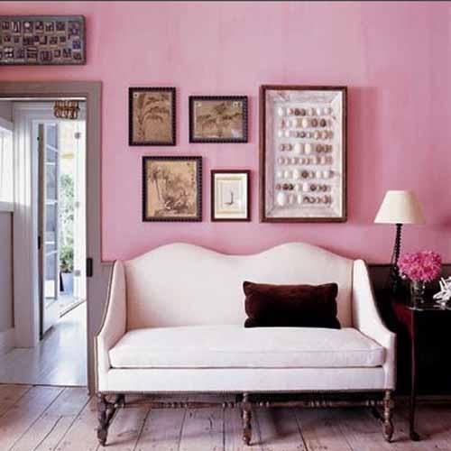 Decor alb roz living