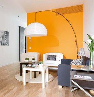 Decor living alb portocaliu