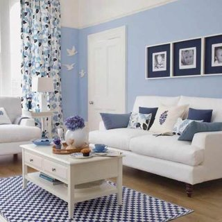 Decor living bleu alb